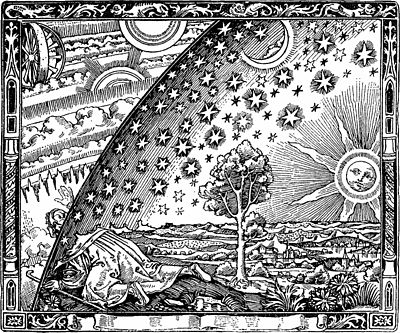 A traveller puts his head under the edge of the firmament in the original (1888) printing of the Flammarion engraving.